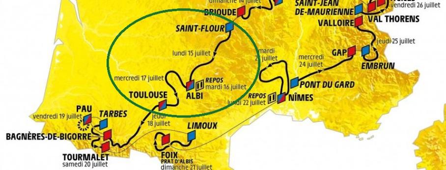 Etape Tour de France à Albi près du camping